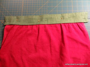 stitch waistband in place