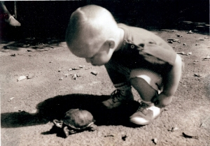 toddler EJK with turtle